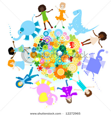 stock-vector-kids-and-planet-joyful-illustration-with ...