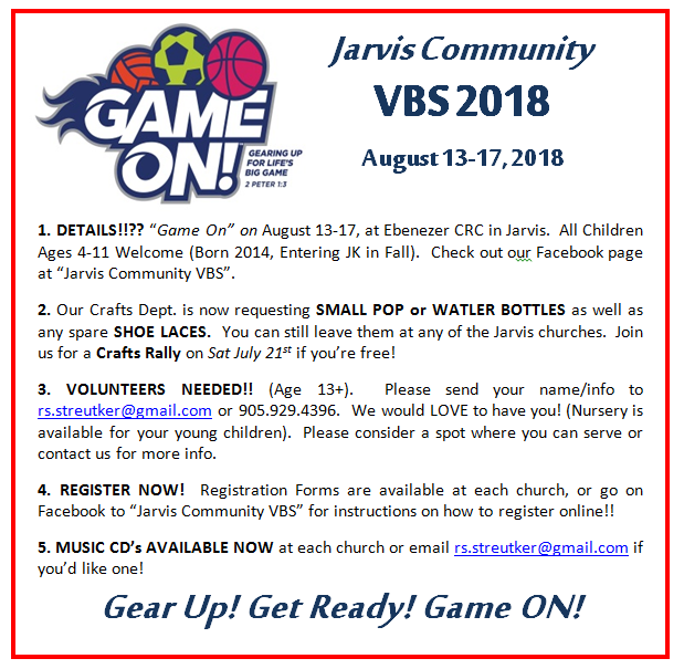 VBS Bulletin – 2018 07 08 – Chalmers and Knox Presbyterian
